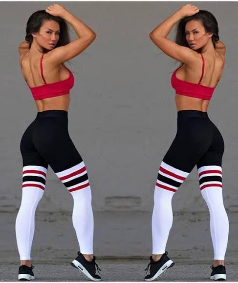 White Black Patchwork Striped Yoga Slim Sock Casual Sports Legging