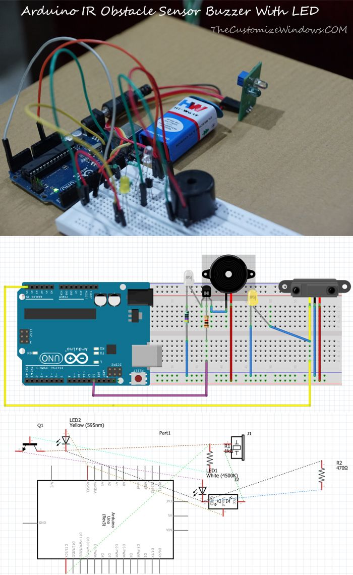 Arduino Ir Obstacle Sensor Buzzer With Led Technology Pinterest Wiring Diagram For Lights On When An Opaque Material Will Come Closer To The Make Sound Light Up