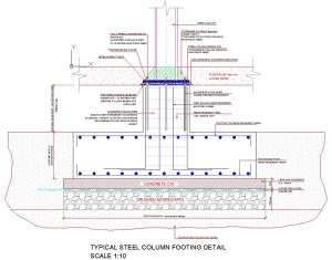 Typical Detail For A Footing Foundation Supporting A Steel