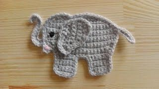 crochet elephant applique -video