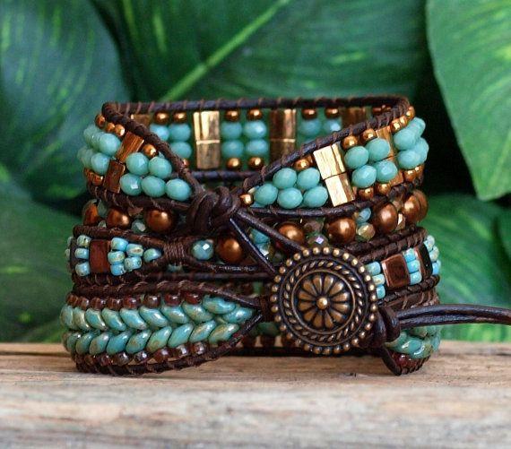 Turquoise Bronze Beaded Wrap Bracelet Beaded Leather by PJsPrettys