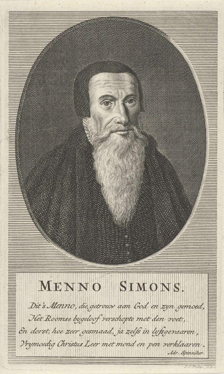 Portret van de doopsgezinde predikant Menno Simons, Jan Caspar Philips, 1736