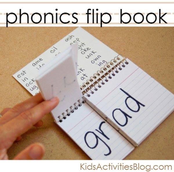 Great idea! ---> Phonics flip book http://kidsactivitiesblog.com/6412/word-families-flip-book