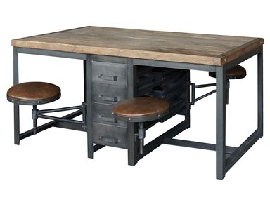 Partners Desk or Work Table in Rustic Black Finish and Bleached Pine Top