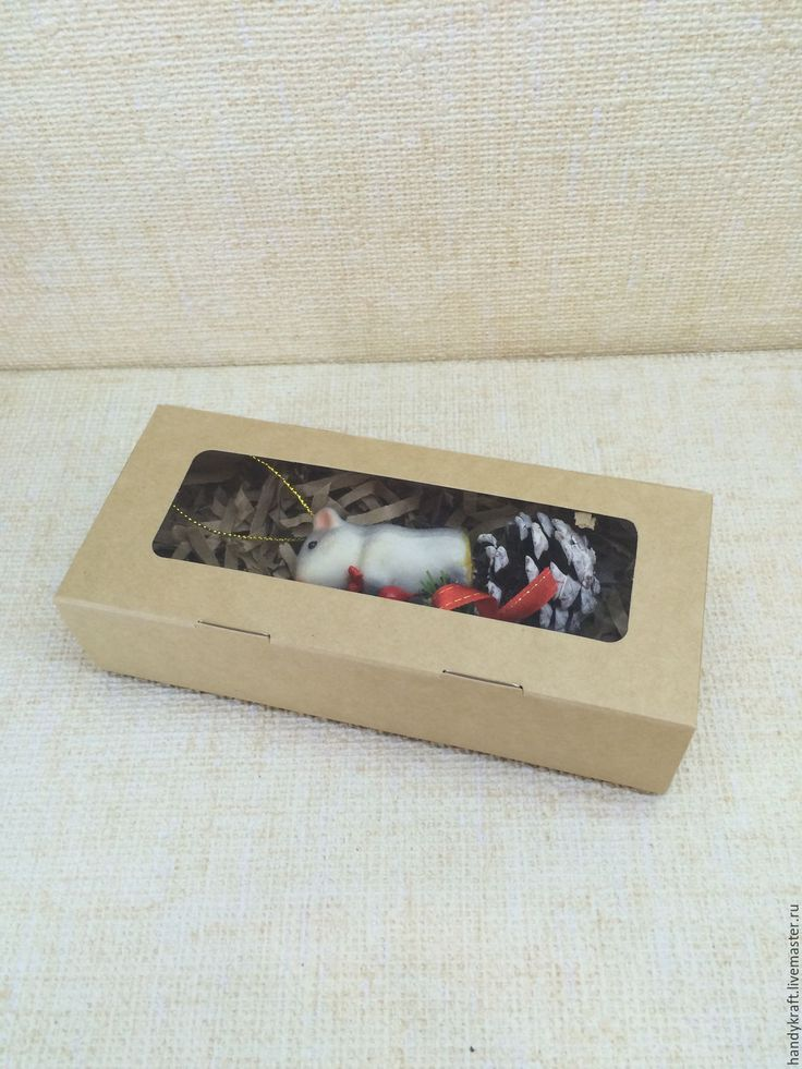 Купить Крафт коробка с окошком 17х7х4 см - бежевый, крафт, крафт коробка, крафтовая коробка