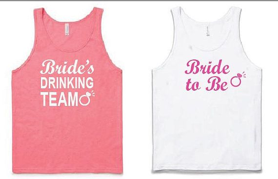 1 bride to be and 4 brides drinking team racer by BridesmaidTank