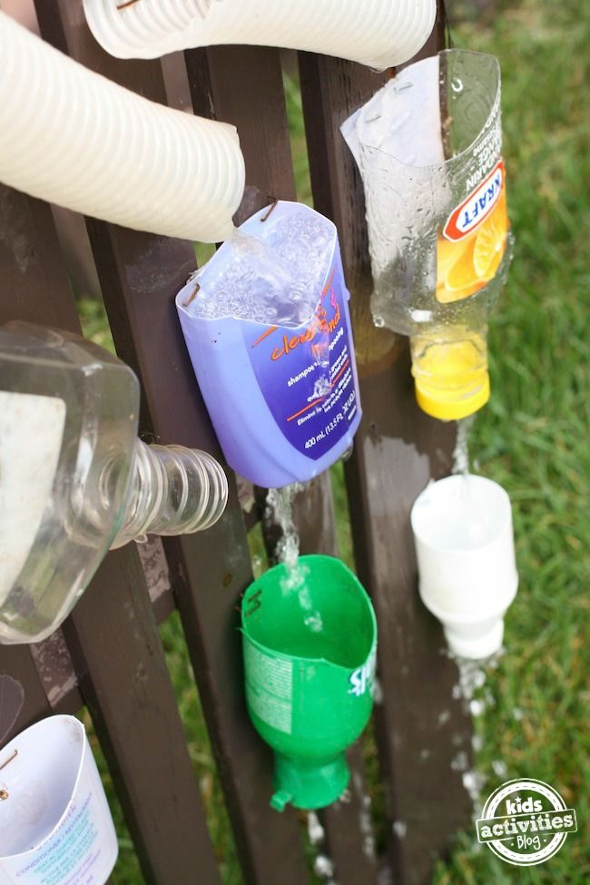 Use recycled bottles from around the house to create a homemade water wall for kids!