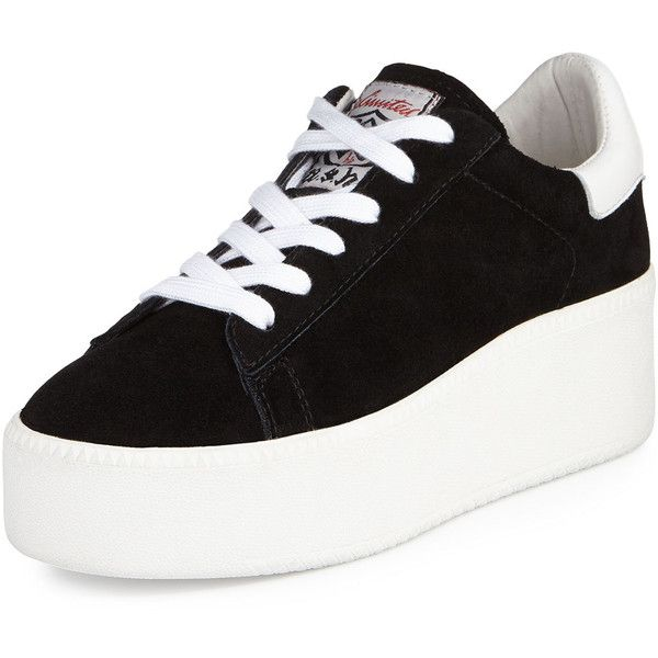 Ash Cult Suede Platform Sneaker (£63) ❤ liked on Polyvore featuring shoes, sneakers, lacing sneakers, high heel platform sneakers, high heel sneakers, platform trainers en black and white platform sneakers