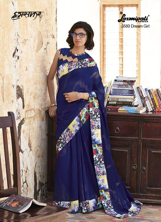Spell Royalty like as you sway around by wearing this Royal Blue coloured Georgette Saree with Digital Floral Printed Lace added smoky effect. It comes with Blue Brocade Blouse with it.
