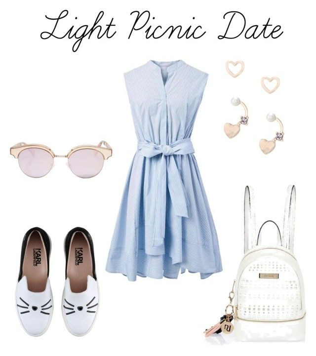 Walk in the Park Date by artsychick7 on Polyvore featuring Chicwish, Karl Lagerfeld, River Island, Lipsy and Le Specs, princess, cinderella, ella, girly, sweet, park, picnic, date, outfit, idea, ideas, white, light blue, gold, pink
