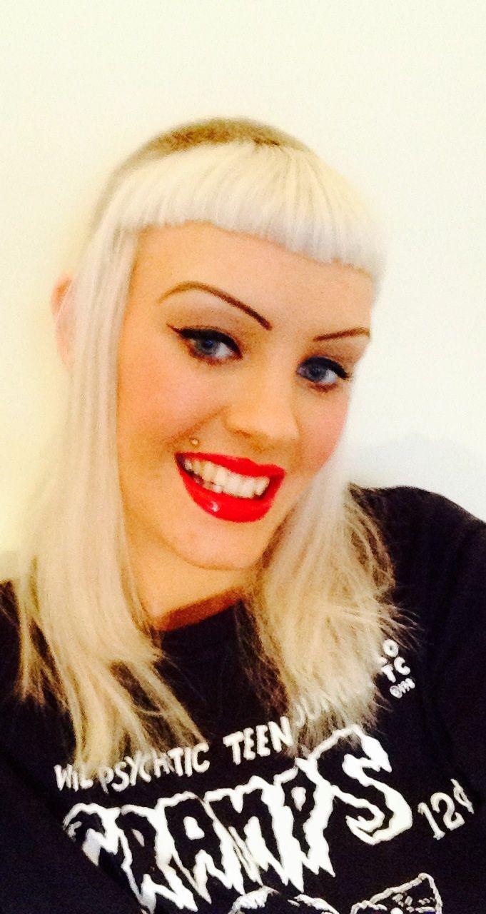 ... cut feather cut bleached blonde shaved buzz cut red li… | Pinterest
