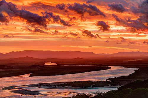 Sunset over the Endeavor River seen from Grassy Hill, Cooktown in Queensland, Australia