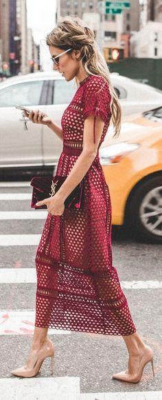 Olivia Palermo is stunning in this burgundy eyelet midi   N Y F W Fall Inspo by Hello Fashion