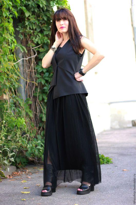 R00090 Потрясающая юбка -трансформер из гофре. Длинная юбка макси в пол. Черная длинная юбка для вечеринки, ужина,прогулки. Так элегантно и нестандартно, Уникальный свободный стиль!