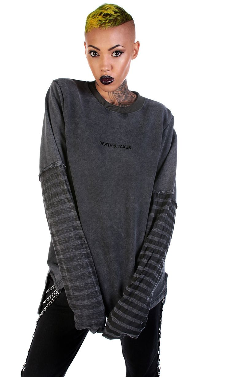 Destroy Long Sleeve Sweater #disturbiaclothing disturbia striped death and taxes distressed frayed metal alien goth occult grunge alternative punk