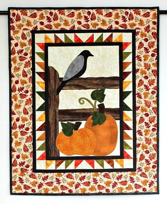 Fall Wall Hanging Pumpkins Quilted Wall Decor Orange Brown Cream Autumn Wall Quilt Quiltsy Handmade Fall Quilts Wall Quilts Wall Hanging