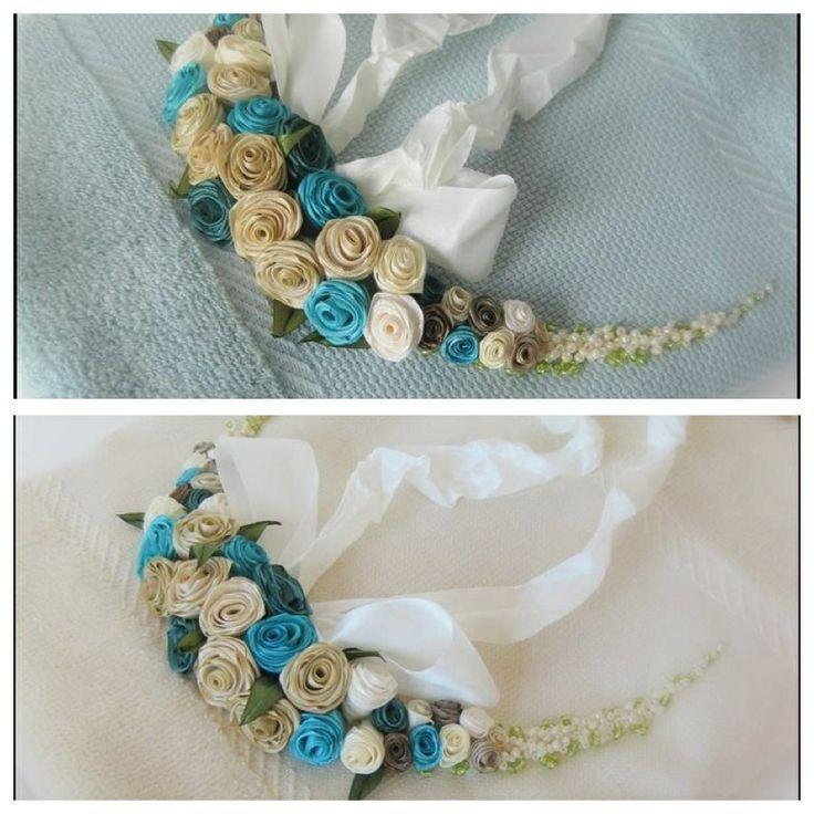 Ribbon flowers, embroidery, towels, Nigar Hikmet
