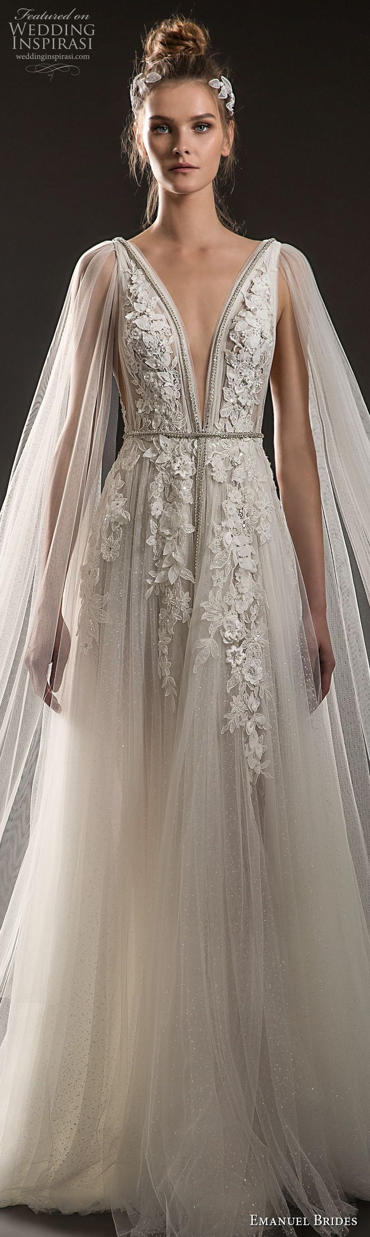 emanuel brides 2018 bridal sleeveless deep plunging v neck heavily embellished bodice elegant romantic soft a line wedding dress sheer cape open v back sweep train (08) lv