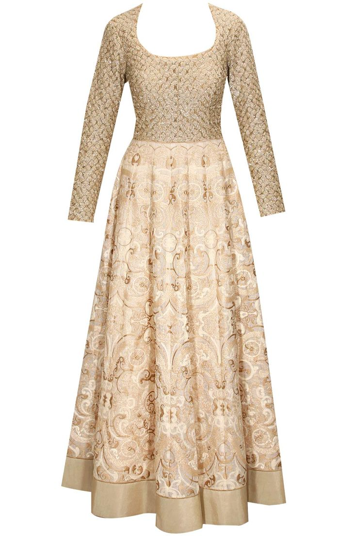Ivory and gold thread embroidered kurta set by Jade. Shop now: http://www.perniaspopupshop.com/designers/jade-by-monica-and-karishma #anarkali #jade #shopnow #perniaspopupshop