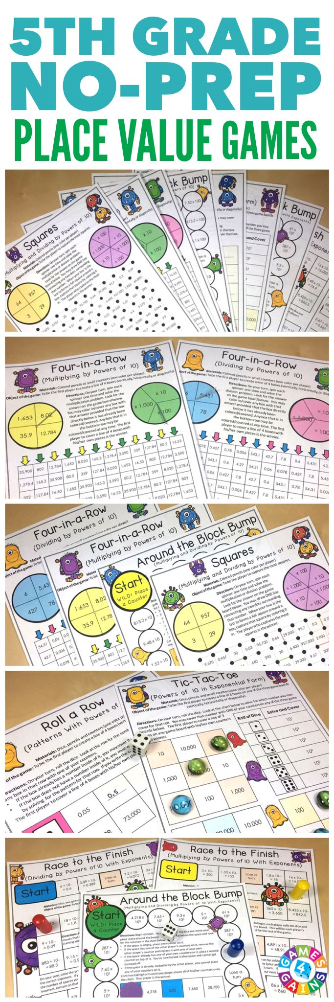 """Love these for math centers!"" Place Value Games for 5th Grade contains 9 fun and engaging printable board games to help students to practice Common Core standards 5.NBT.A.1 and 5.NBT.A.2. These games are so simple to use and require very minimal prep. They are perfect to use in math centers or as extension activities when students complete their work!"