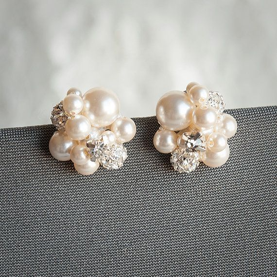 Pearl Cluster Wedding Earrings Bridal Stud by GlamorousBijoux, $58.00