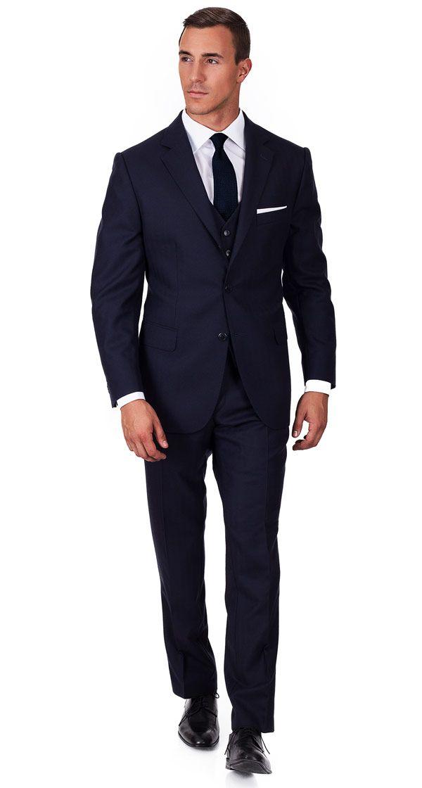 Navy Herringbone 3 Piece Suit