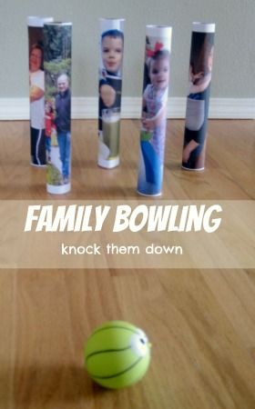 Family Bowling -  a fun family activity where you are allowed to knock down your loved ones: Bowling Love, Bowling Family, Family Activities, Bowling Pins, Gross Motor Activities