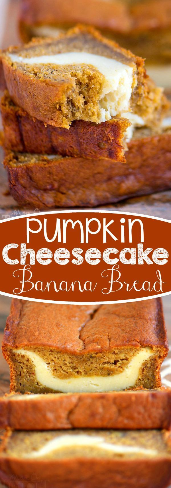 This Pumpkin Cheesecake Banana Bread is perfect for dessert but also doubles as an amazing breakfast...or snack...or lunch. It's pretty amazing no matter what time you eat it! Ultra moist and bursting with pumpkin flavor!
