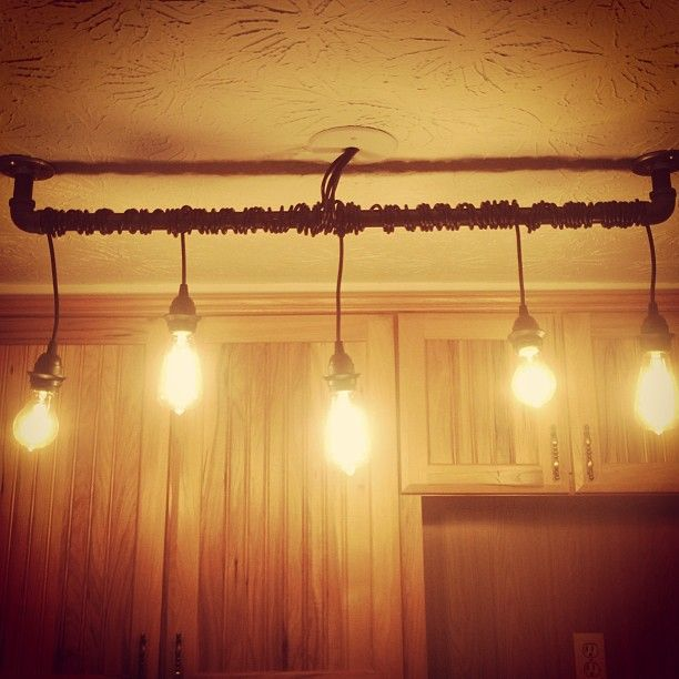 Diy Rustic Home Track Lighting For Kitchen Made With Blackened Steel Exposed Sockets And Edison Bulbs Sweet