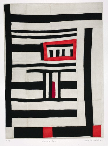 Mary lee bendolph 72×76 black white red strips