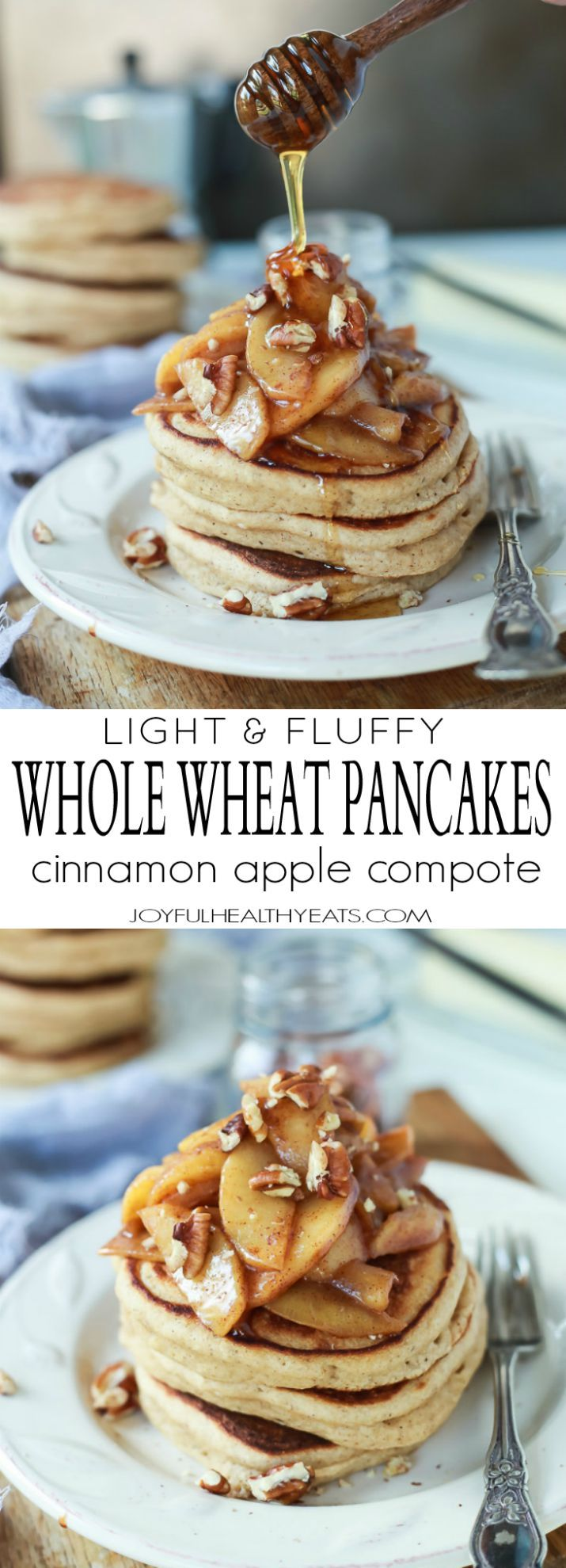 Fluffy Whole Wheat Pancakes made with a few secret ingredients, top with a Cinnamon Apple Compote that's made with honey instead of brown sugar for the grand finale!   joyfulhealthyeats.com