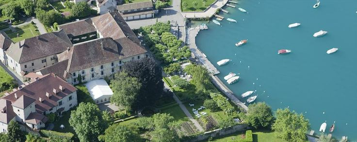 Abbaye De Talloires, Annecy, France. Set in an old alpine abbey on the shores of Lake Annecy.