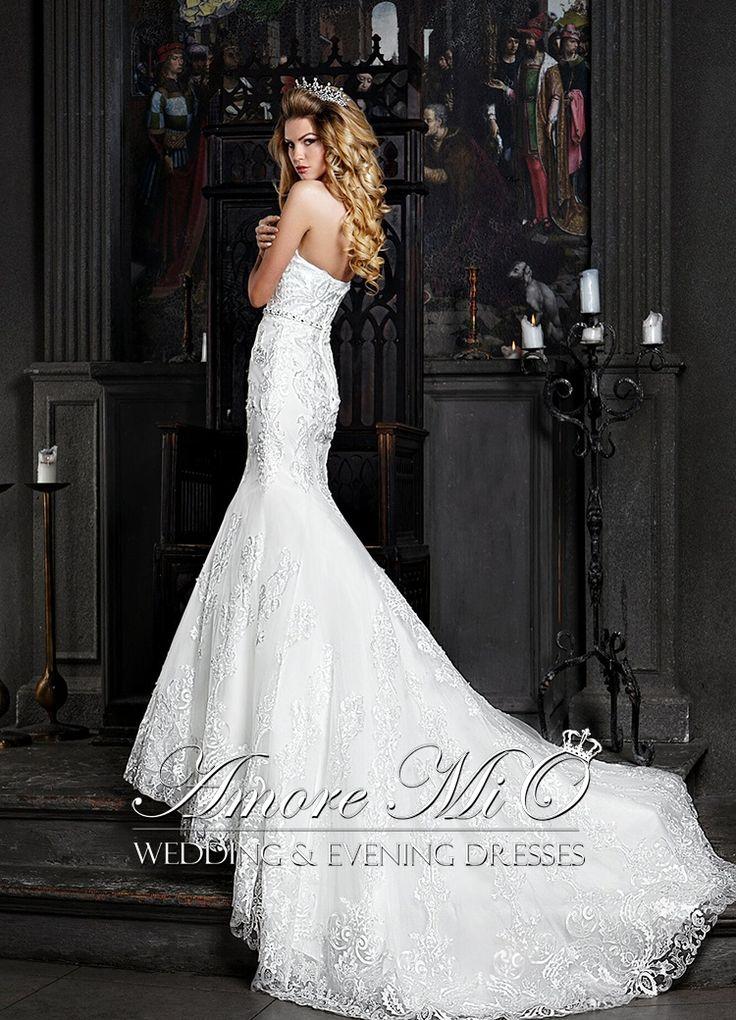 Свадебное платье Тесса открытое, шлейф купить в Москве - интернет-магазин Аморе МиО