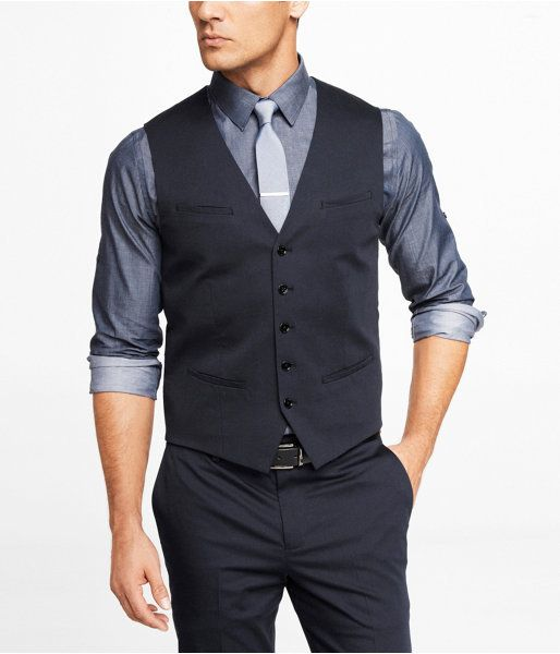 Navy Waistcoat by Express. Buy for $79 from Express
