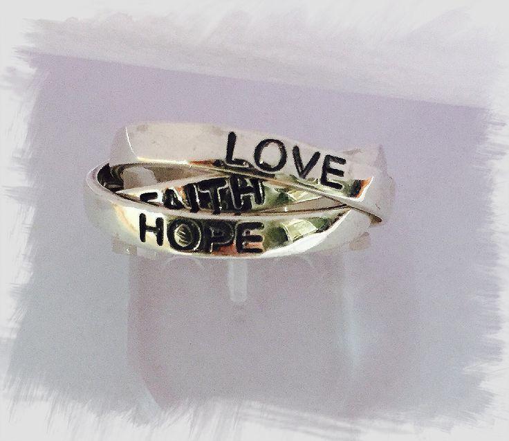 Hope Love Faith Ring Sterling Silver - $90 www.ratajewellery.com