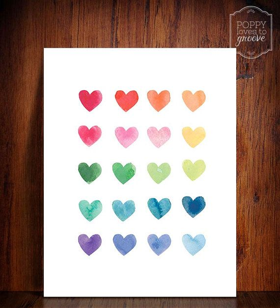 A gorgeous whimsical rainbow of watercolour hearts printable.    PLEASE NOTE, THE PRODUCT LISTED IS A DIGITAL DOWNLOAD NOT A PRINTED PRODUCT