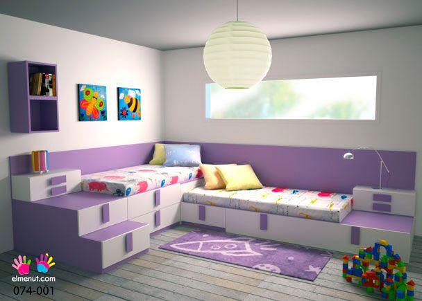 Habitación Infantil: DORMITORIO JUVENIL 074-001 | Dormitorio infantil con 3 camas. 1 cama nido base de 200x97x30 cm. Dos camas más sobre diferentes m