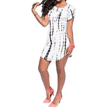 Show details for Women T Shirt Dress Sexy Print Short Sleeve Casual Party Dresses