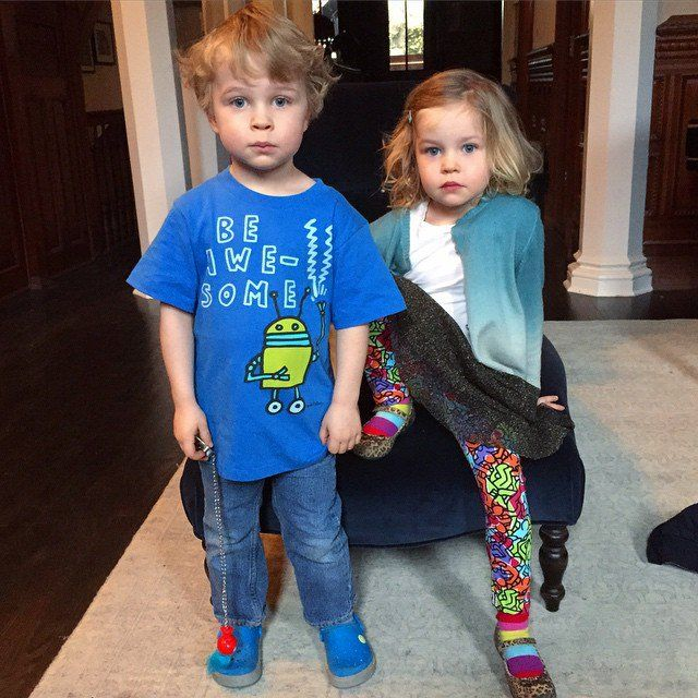Pin for Later: Jaime, Shakira, and Jessica Shared the Cutest Pictures of Their Kids This Week!  Gideon and Harper Burtka-Harris modeled their limited-edition Keith Haring x Gap clothes.