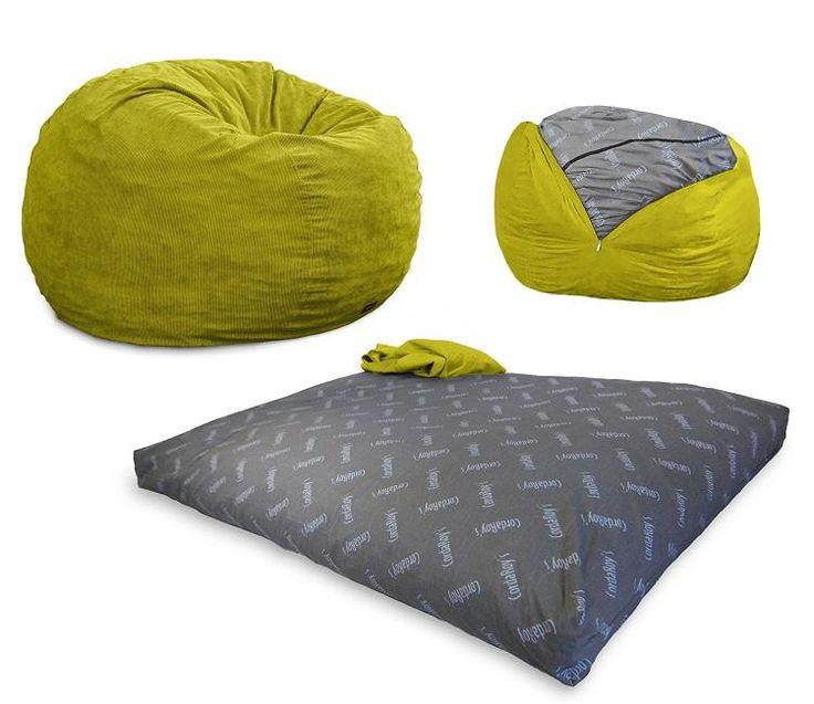 Convertible Bean-Bag Chair Turns Into a Queen Size Mattress Bed - Bean Bag Bed
