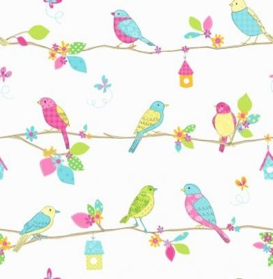 I want to line the babies dresser drawers with wallpaper... Garden Birds (DL30702) - Albany Wallpapers - A fun kids wallcovering with sketches of garden birds sitting on a line with different print pattern designs on them. Showing on a white background. Co-ordinating border available. Please request a sample for true colour match.