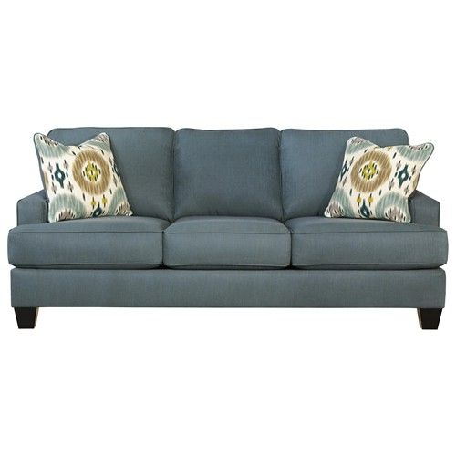 Benchcraft Brileigh Teal Contemporary Sofa With Track
