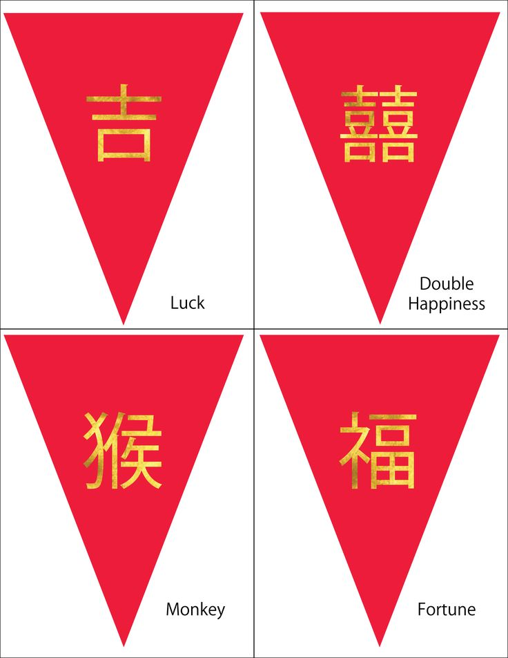 Chinese New Year Free Printable! You can create your very own pennant flag banner using these flags. Decorating for the Chinese New Year, 2016 Year of the Fire Monkey is a family activity!