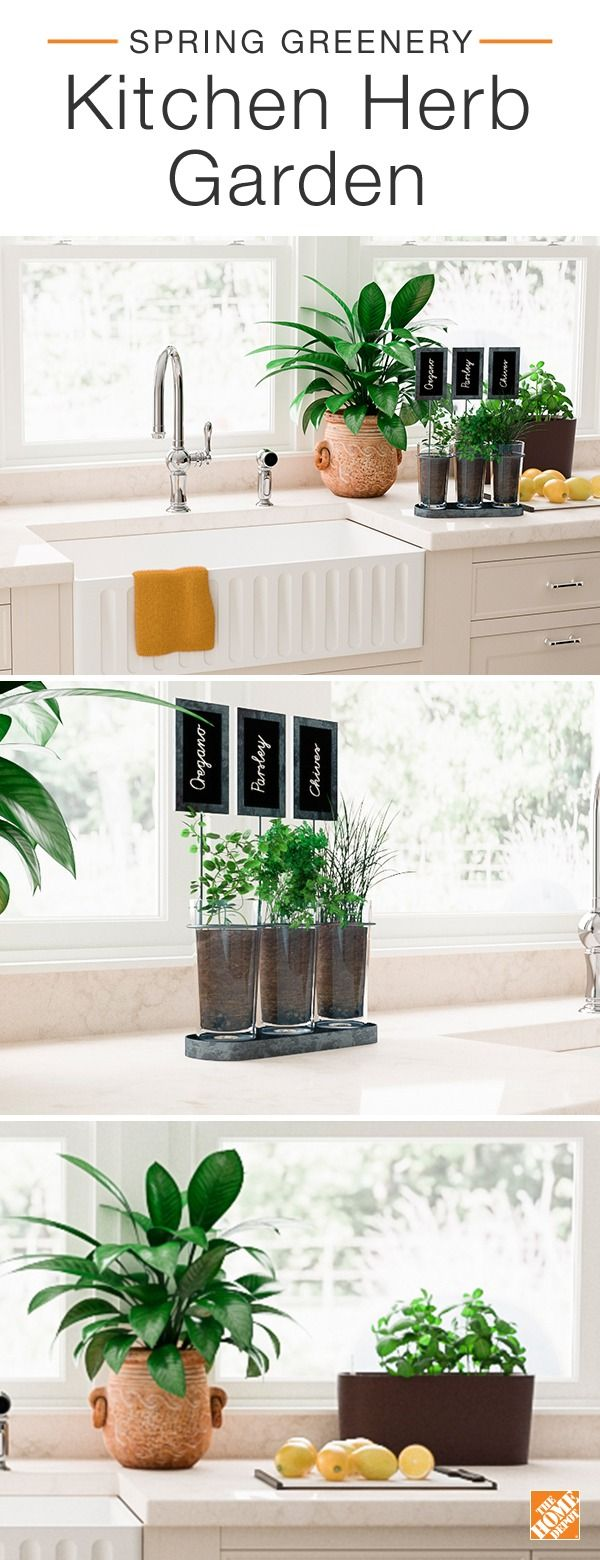 Freshen up your kitchen with an easy herb garden. Repurpose a chalkboard wine holder and some glass tumblers to create a shabby chic trio herb planter. Pair a classic terra cotta pot with a modern matte mocha planter to create an indoor garden that will look and taste divine. Click to discover more ways to bring the outside in this spring.