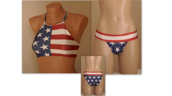 BS1554 PADDED ..American flag high neck halter bikini top and matching…