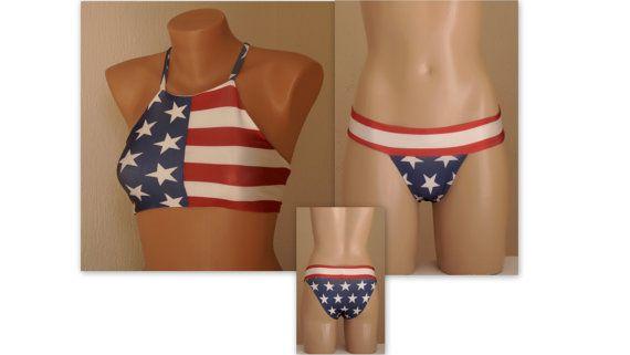 American flag high neck halter bikini top and matching bottoms-Swimsuit-Women's swimwear-4th July bikini-American flag bikini-Bathing suit