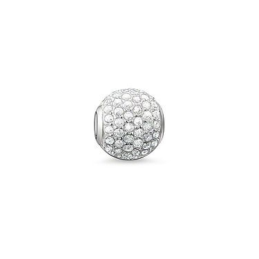 BEAD THOMAS SABO KARMA BEAD PAVE WHITE STERLING SILVER SET WITH WHITE SYNTHETIC ZIRCONIA PAVE SET STONES 1CM - Jons Family Jewellers