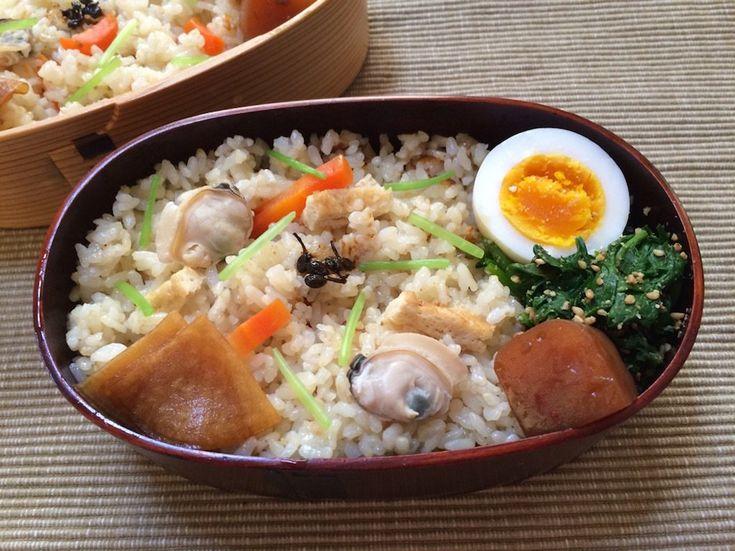 蛤ご飯(夫280g、自分230g、三葉、実山椒、編笠大根)、にぬき、菠薐草胡麻和、赤蒟蒻直鰹煮