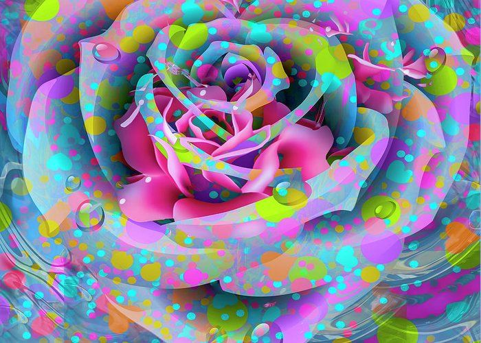 Petals Greeting Card featuring the digital art Rose by Eleni Mac Synodinos