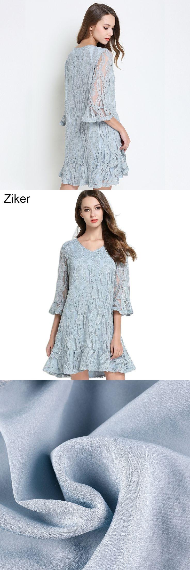 Ziker New 2017 Fashion Summer Lace Dresses Women Sexy V-Neck Half Sleeve Plus Size Dress XL-5XL